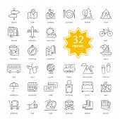 Set of Travel Items Icons poster