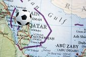 Qatar on a map with a soccer pin