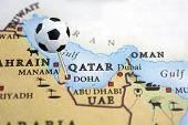 Soccer pin on Qatar
