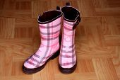 Pink Rain Boots on Wood Floor