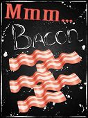 Постер, плакат: Bacon Poster Breakfast Chalkboard Funny
