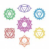 Isolated Set Of Beautiful Indian Ornamental 7 Chakras. Vector Illustration. Color Yoga Chakra Icons poster