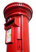 Close Up Of A British Red Post Box On White Background.