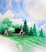 Country Church Painting