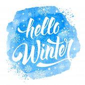 Hello Winter Phrase poster