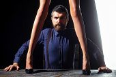 Guy At Table With Female Legs. poster