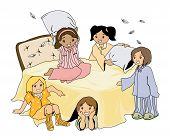 picture of slumber party  - Illustration of a Pajama Party with Clipping Path - JPG