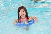 Six Years Old Girl Excited About Swimming