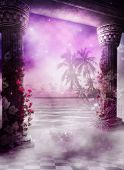 stock photo of purple rose  - A background in pink hues with columns overlooking a foggy tropical beach - JPG