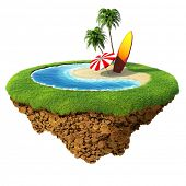 Surf on little planet. Concept for travel, holiday, hotel, spa, resort design. Tiny island / planet collection.