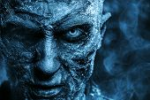 Close-up portrait of a zombie man covered with snow. Halloween. Horror film. poster