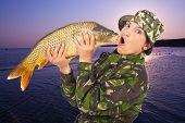Funny Woman Angler Mimic Big Fish