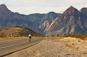 Cyclist On Road Through Desert Into Mountains