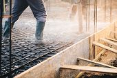 Concrete Pouring During Commercial Concreting Floors Of Buildings In Construction poster