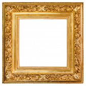 Isolated antique gold wood frame over white background with clipping path included. poster