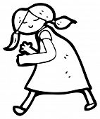hunched girl walking