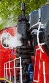 Old Steam Locomotive Blowing Off The Steam Out Of The Whistle. poster