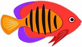 Reef Fish In Paper Art Style. Colorful Exotic Aquarium Fauna Vector Illustration. Marine Ecosystem,  poster