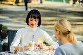 Girls Friends Drink Coffee Talk. Conversation Women Cafe Terrace. Friendship Friendly Relations. Rev poster