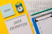 Conceptual Hand Writing Showing Data Encryption. Business Photo Showcasing Symmetrickey Algorithm Fo poster