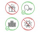 Do Or Stop. Company, Special Offer And Breathing Exercise Icons Simple Set. Trophy Sign. Building, D poster
