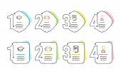 Star, Search File And Graduation Cap Icons Simple Set. Education Sign. Customer Feedback, Find Docum poster