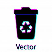 Black Recycle Bin With Recycle Symbol Icon Isolated On White Background. Trash Can Icon. Garbage Bin poster