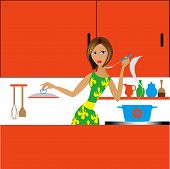 the girl in kitchen