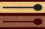 Horizontal cooking related wooden banners with a scoop