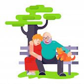 Old People Pensioners Play With Best Friend Pet Character Dog Or Puppy Illustration. Family Playing  poster
