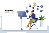 Business Analysis, Data Analytics.businesswoman Looking At Business Analytics Or Intelligence Dashbo poster