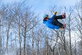 A Snowboarder Performs An Aerial Trick In A Terrain Park poster