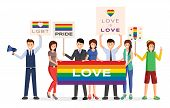 Lgbt Demonstration Protesters Flat Vector Illustration. Cartoon Male, Female Activists Holding Rainb poster