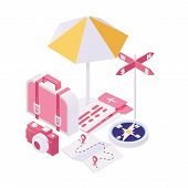Getting Ready For Voyage Isometric Illustration. Packing Bags For Tourist Adventure, Summertime Holi poster