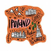 Cartoon Map Of Poland Vector Illustration. Printable Art For Textile, Souvenirs, Picture For Website poster