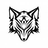 Abstract Head Wolf Icon With Color Black On The White Background. Geometric Wolf Icon Trendy And Mod poster