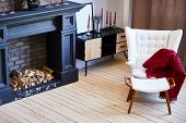 Beautiful Living Room Interior With Hardwood Floors And Fireplace In New Luxury Home. poster