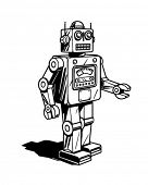 Retro Roboter - Clipart Illustration