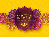 Diwali Festival Holiday Design With Paper Cut Style Of Indian Rangoli And Diya - Oil Lamp. Purple Co poster