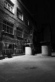 Dark Alley, Factory Backyard, Black And White