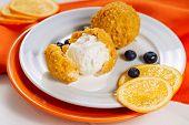Deep Breaded Fried Icecream Ball Dessert Close-up. Sweet Asia Catering Scoop Crispy Soft Ice Cream F poster