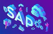 Sap Business Process Automation Software. Erp Enterprise Resources Planning System Concept. Technolo poster
