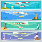Lighthouse Vector Banner, The Sea Beacon Lighter For Ship Beaming Path Of Lighting From Seaside Coas poster
