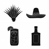 Vector Illustration Of Carnival And National Symbol. Collection Of Carnival And Tequila Stock Symbol poster