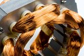 stock photo of coiled  - Closeup of copper coils inside electric motor - JPG