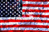 Broken Mirrors Against The Background Of The American Flag. The Concept Of Crisis poster