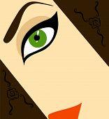 Half-face Woman Vector Illustration