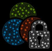 Glossy Mesh Lock Colors With Glare Effect. Abstract Illuminated Model Of Lock Colors Icon. Shiny Wir poster