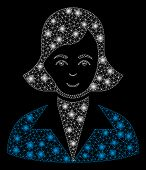 Flare Mesh Lady With Glitter Effect. Abstract Illuminated Model Of Lady Icon. Shiny Wire Frame Trian poster
