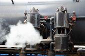 Valves On Steam Train.  Baldwin Steam Locomotive Close Up.  Running Antique Steam Engine. poster